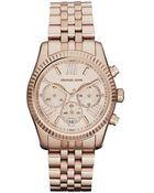 Michael Kors Ladies Lexington Rose Gold Stainless Steel Chronograph Watch - Lyst