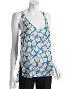 Diane von Furstenberg Blue Fern Printed Silk Velena Tank - Lyst