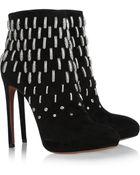 Alaïa Metalembellished Suede Boots - Lyst