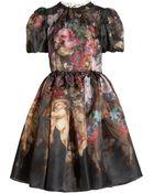 Dolce & Gabbana Printed Silk Organza Dress - Lyst