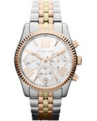 Michael Kors Midsize Silver Color Stainless Steel Lexington Chronograph Watch - Lyst