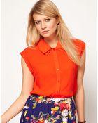 ASOS Collection Blouse with Folded Collar - Lyst