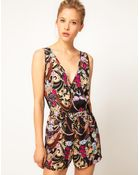ASOS Collection Asos Playsuit in Jewel Print - Lyst