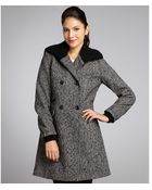 Nicole Miller Black and White Tweed Wool Blend Knit Collar Double Breasted Coat - Lyst