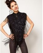 ASOS Collection Asos Sleeveless Jacket with Allover Embellishment and Beaded Fringing - Lyst
