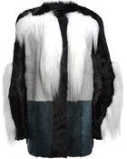 Lanvin Fur Paneled Coat - Lyst