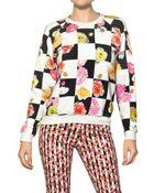 MSGM Flower Checked Cotton Fleece Sweatshirt - Lyst