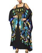 Etro Printed Viscose Cady Long Kaftan Dress - Lyst