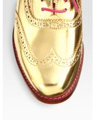 Cole Haan Metallic Leather Oxford brogues - Lyst