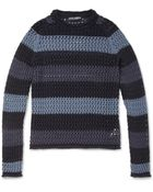 Dolce & Gabbana Striped Crochetknit Cotton Sweater - Lyst