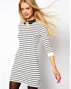 G-Shock Asos Striped Dress with Lace Collar - Lyst