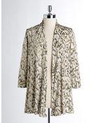 Anne Klein Three-Quarter Sleeved Drape Front Print Cardigan - Lyst