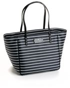 Kate Spade Striped Leather Tote Bag - Lyst