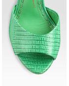 Alice + Olivia Jana Lizardprint Leather Wedge Sandals - Lyst