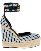 Pierre Hardy Cubeprint Canvas Sandals with Black Leather Trimming - Lyst