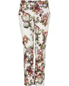 Topshop Winter Floral Cigarette Trousers - Lyst