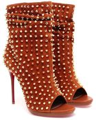 Christian Louboutin Guerilla Studded Suede Ankle Boot - Lyst