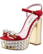 Miu Miu Jeweled Suede Platform Sandals - Lyst