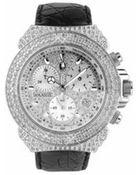 Lancaster Giogio' Black Croco-Stamped Calf Leather Band Diamond Chronograph Watch - Lyst