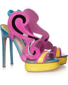 Nicholas Kirkwood Colorblock Suede and Patentleather Sandals - Lyst