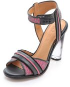 L.A.M.B. Carter Sandals with Lucite Heel - Lyst