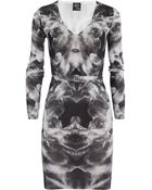 McQ by Alexander McQueen Printed Silk and Cotton Blend Sweater Dress - Lyst