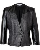 Helmut Lang Old Silver/Black Cotton-Linen Jacket With Leather Sleeves - Lyst