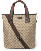 Gucci Leathertrimmed Canvas Tote Bag - Lyst