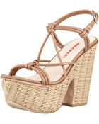Prada Knotted Leather Wickerwedge Sandals - Lyst