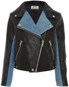 Acne Studios Leather and Denim Rita Biker Jacket - Lyst