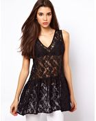 Asos Peplum Top in Lace with Drop Waist - Lyst