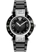 Versace Rave Black Dial Rubber Strap Watch - Lyst