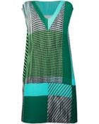 Issey Miyake Pleated Colour Block Dress - Lyst