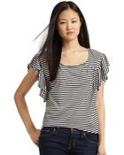 Addison Striped Ruffle Top - Lyst