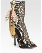 Jimmy Choo Kevan Suede and Feathered Tribal Leather Ankle Boots - Lyst