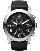 Marc By Marc Jacobs Mens Black Matte Dial Black Leather Strap Watch - Lyst