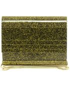 French Connection Pretty Perspex Gold Glitter Clutch Bag - Lyst