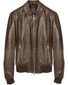 Forzieri Dark Brown Leather Bomber Jacket - Lyst