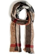 Burberry Fine Cashmere Mega Check Crinkled Scarf in Camel - Lyst