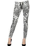 Balmain Leopard Print Stretch Skinny Denim Jeans - Lyst
