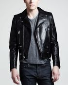 Saint Laurent Leather Motorcycle Jacket - Lyst