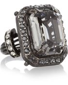 Lanvin Gunmetaltone Glass Crystal Ring - Lyst