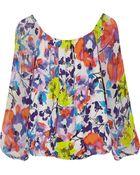 Alice + Olivia Printed Silk blend Chiffon Top - Lyst