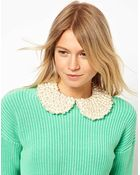 Asos Pearl Peter Pan Collar - Lyst
