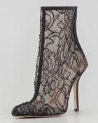 Oscar de la Renta Womens Lacemesh Ankle Boot - Lyst