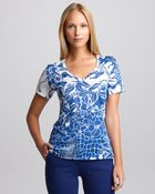 Emilio Pucci Womens Printed Vneck Tee Bluewhite - Lyst