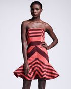 Lanvin Flounce Skirted Striped Dress - Lyst