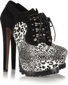 Alaïa Animalprint Calf Hair and Suede Ankle Boots - Lyst