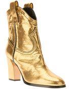 Casadei Metallic Ankle Boot - Lyst