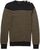Balmain Metallicstriped Woolblend Sweater - Lyst